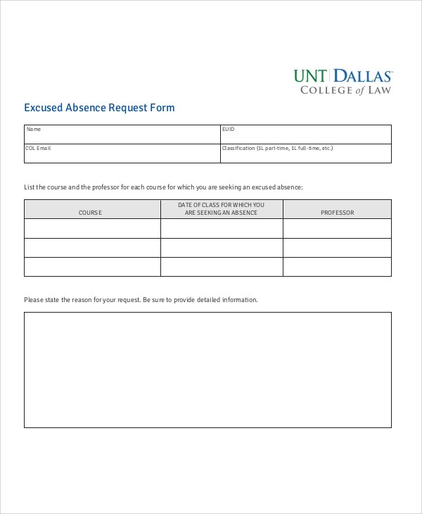 11+ Sample Absence Request Forms Sample Templates