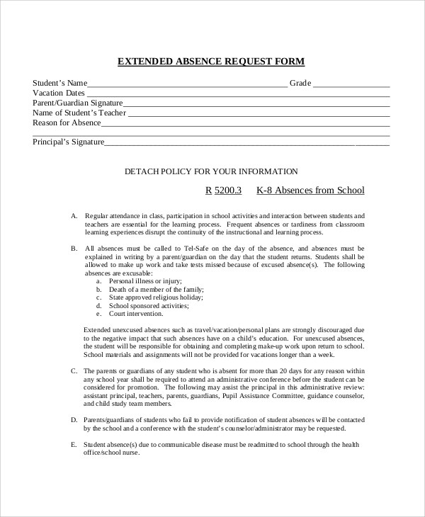 11+ Sample Absence Request Forms Sample Templates - holiday request form