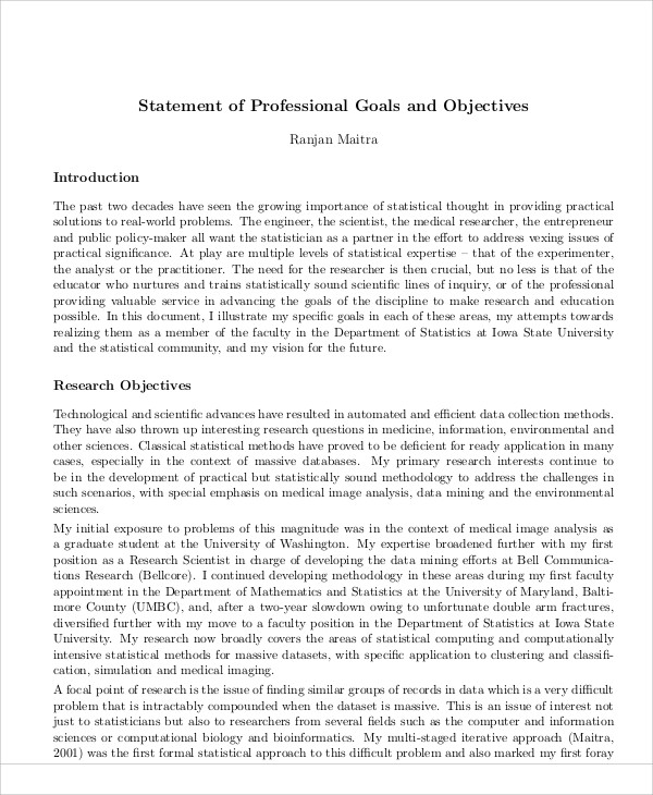 statement of professional goals - zrom