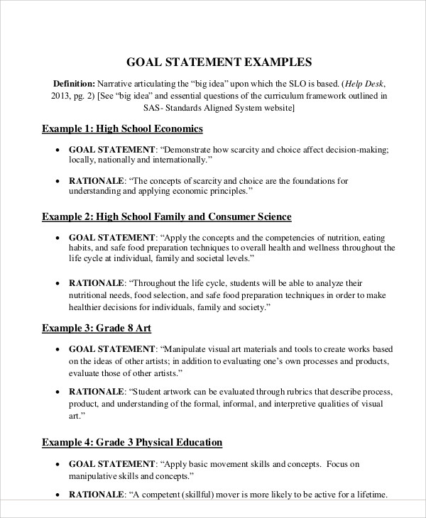examples of goal statements - Demireagdiffusion