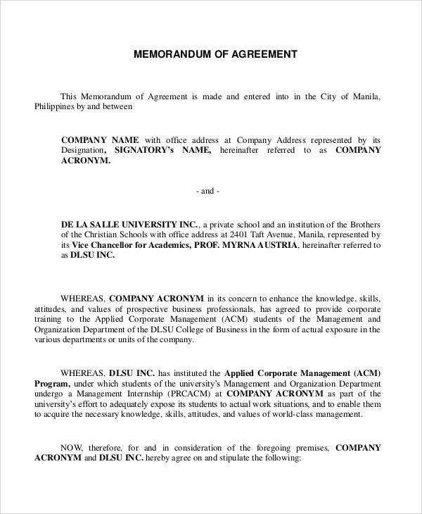 agreement format - Erkaljonathandedecker