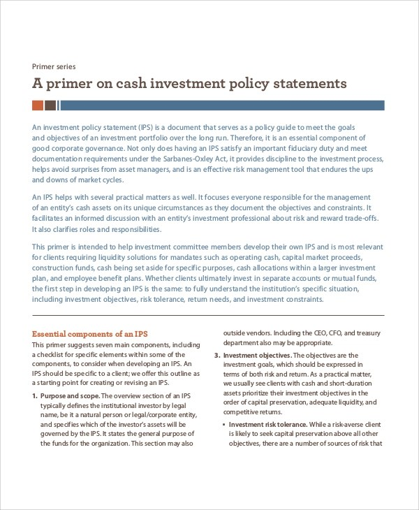 Sample Investment Policy Statement - 10+ Examples in Word, PDF