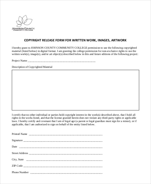 Photo Copyright Release Forms Copyright And Patent Forms With Form - photo copyright release forms