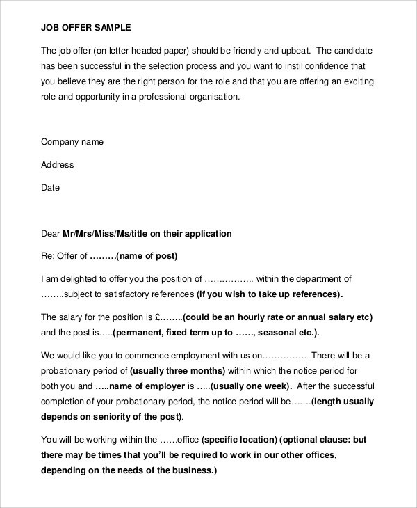 7+ Sample Job Appointment Letters Sample Templates - Appointment Letters