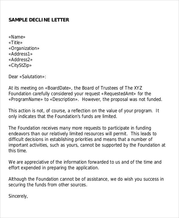 Sample Proposal Rejection Letter - 6+ Examples in Word, PDF
