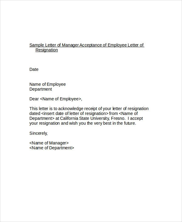 6+ Resignation Acceptance Letter - PDF, Word