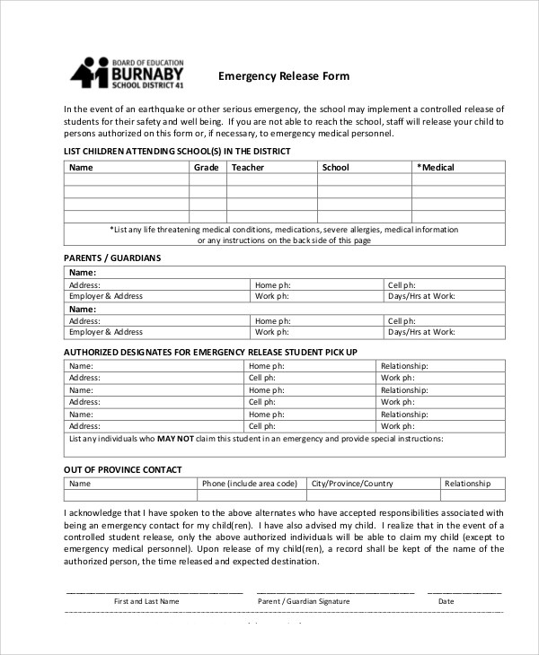 release forms plainresume - work release form