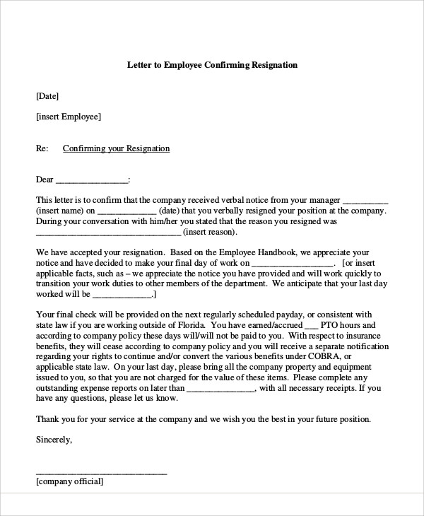 Sample Resignation Acceptance Letter - 6+ Examples in PDF, Word - sample final notice letter