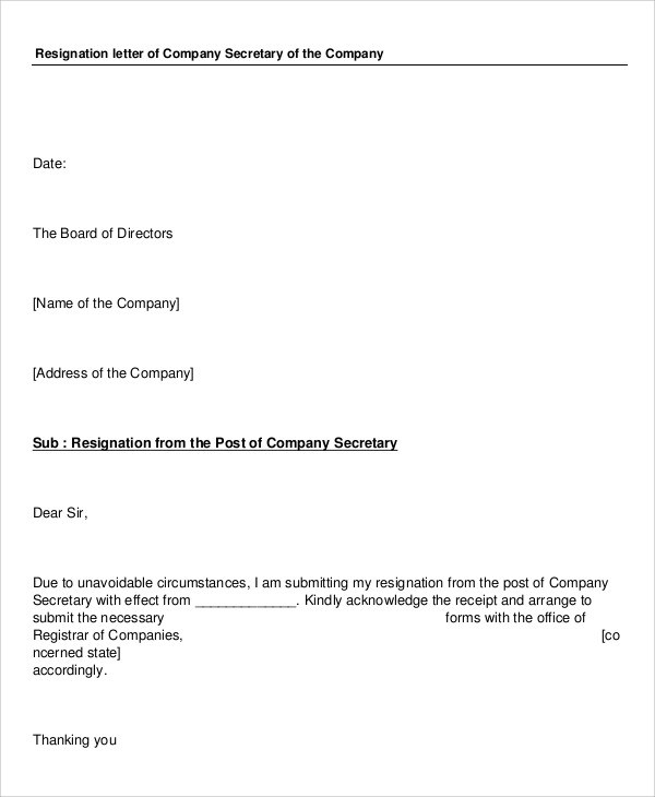 7+ Sample Company Resignation Letters \u2013 PDF, Word Sample Templates