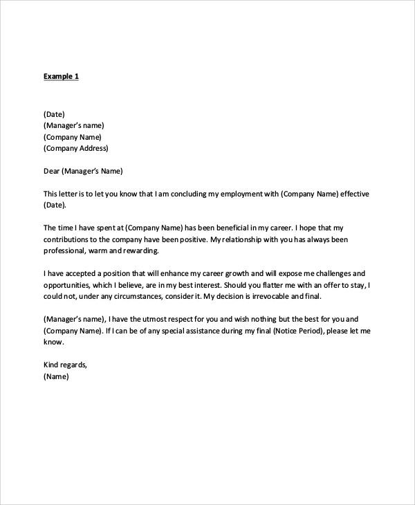 7+ Sample Manager Resignation Letters \u2013 PDF, DOC, Apple Pages
