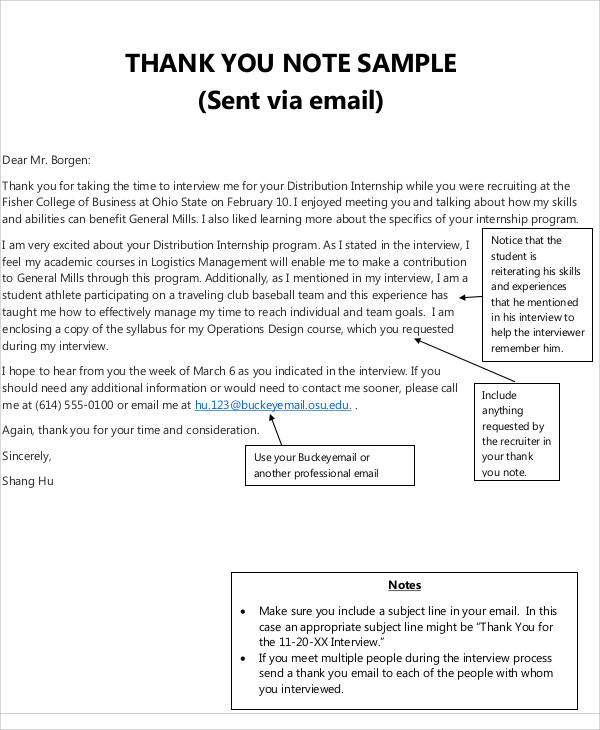 Sample Business Thank-You Note - 5+ Examples in Word, PDF