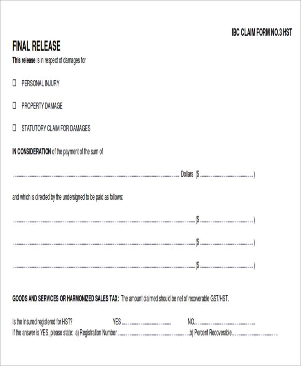 Sample Insurance Release Form - 9+ Examples in Word, PDF