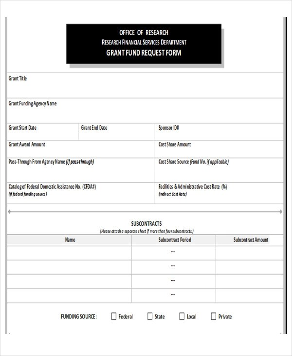 10+ Sample Funding Request Forms Sample Templates