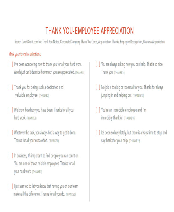 Sample Thank You Notes to Employee - 8+ Examples in Word, PDF