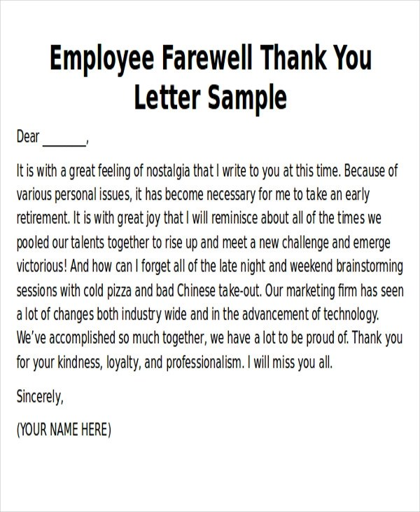 Sample Thank You Notes to Employee - 8+ Examples in Word, PDF - employee thank you letter