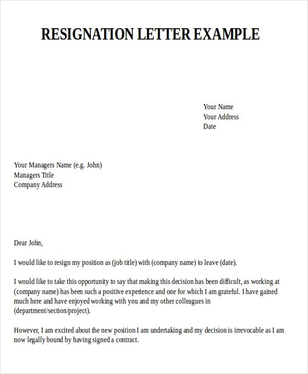 Sample Resignation Letter for New Job - 7+ Examples in PDF, Word