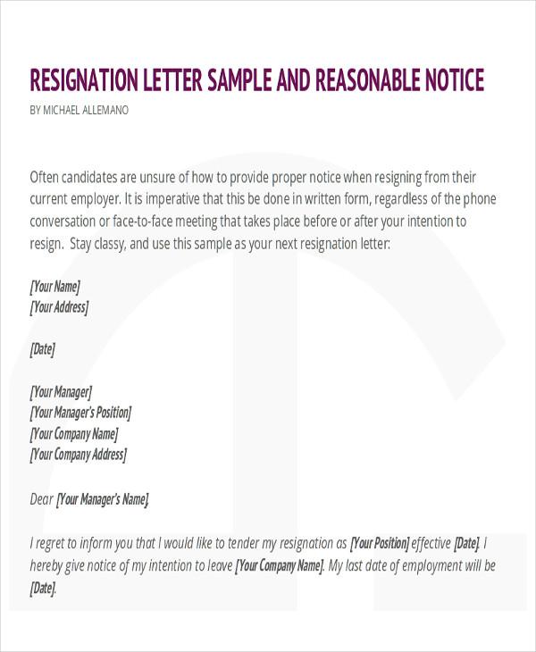 Resignation Letter Sample Professional Resignation Letter Sample - example of resignation letter