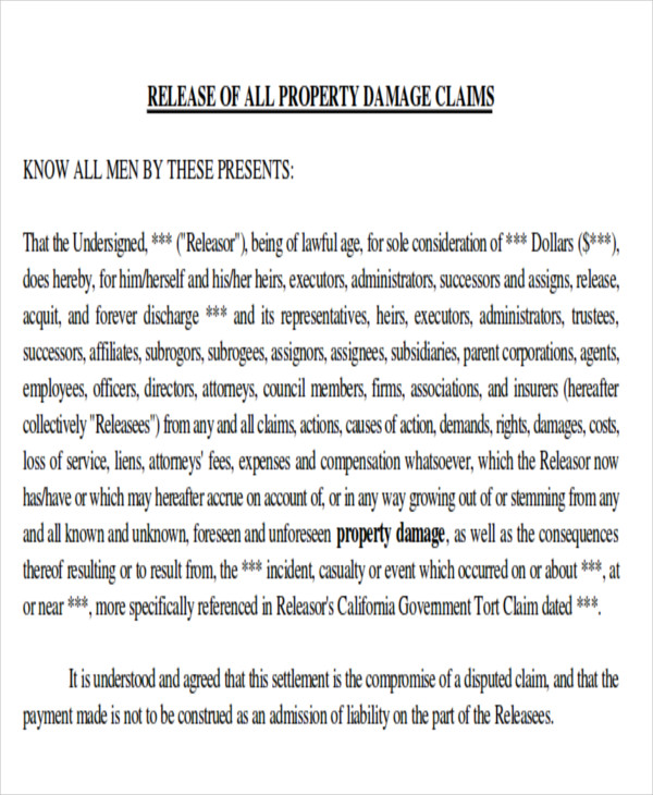 Property Damage Release Form Sample Ps Form Third Party Liability