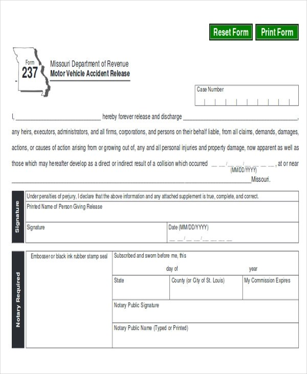 9+ Sample Property Damage Release Forms Sample Templates - accident release form
