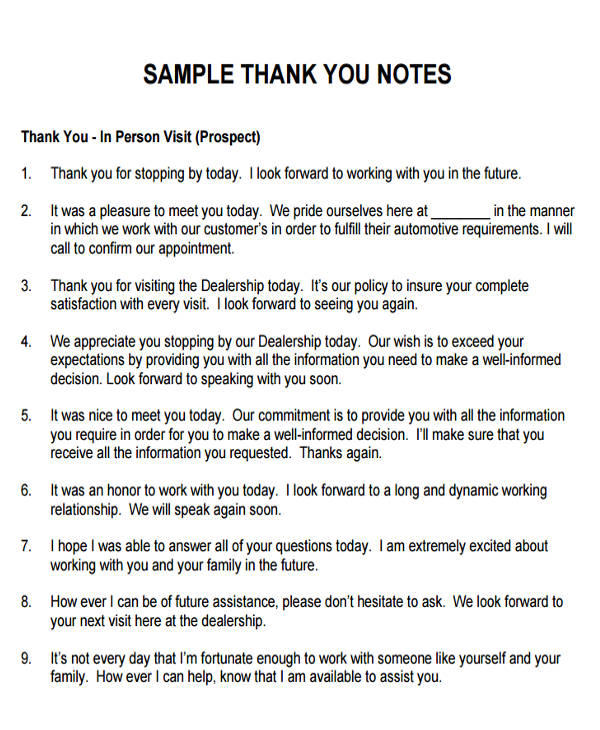6+ Sample Thank-You Notes for Meeting Sample Templates - sample thank you notes