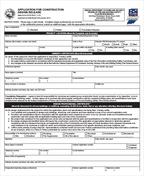 7+ Sample Construction Release Forms Sample Templates - construction form templates