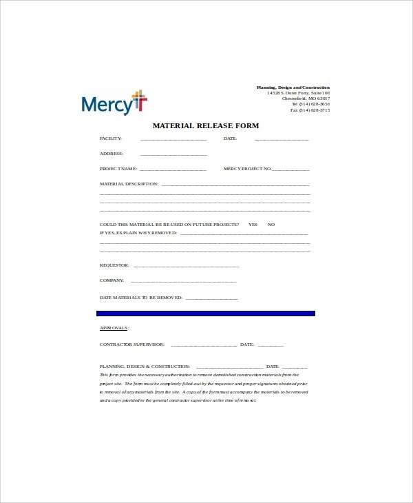 7+ Sample Construction Release Forms Sample Templates - image release form