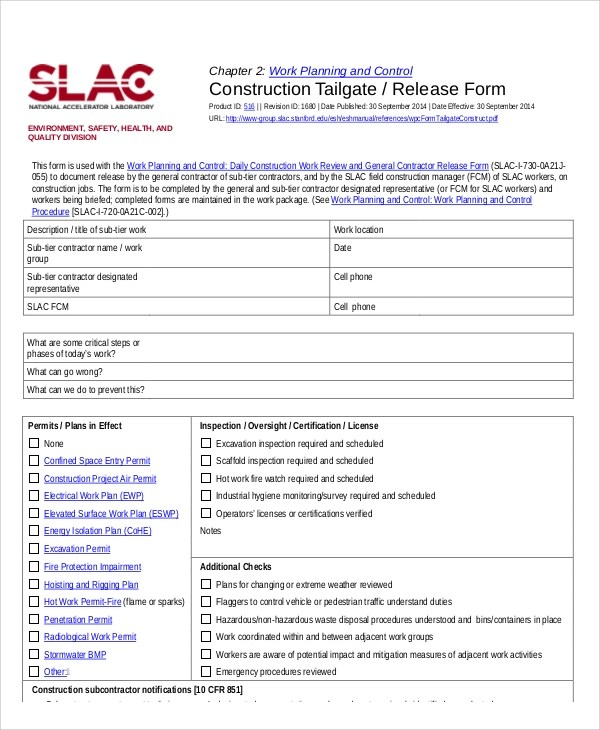 Sample Construction Release Form - 7+ Examples in Word, PDF - work release form