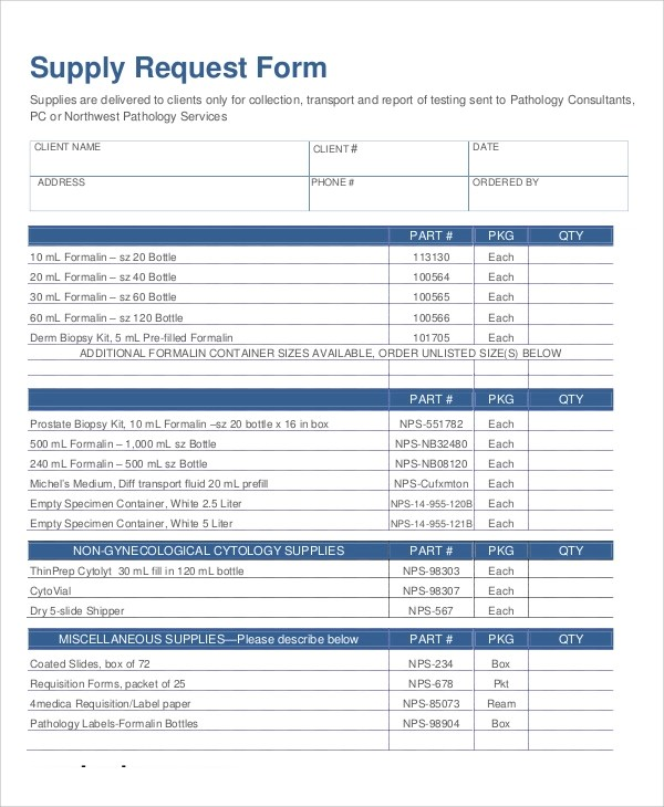 10+ Sample Supply Request Forms Sample Templates