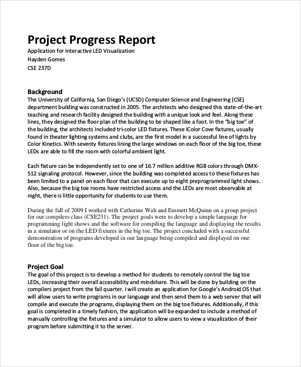 Sample Project Report - 29+ Examples in PDF, Word