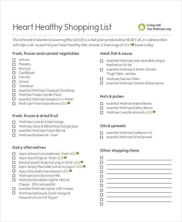 Shopping List Sample - 8+ Examples in Word, PDF