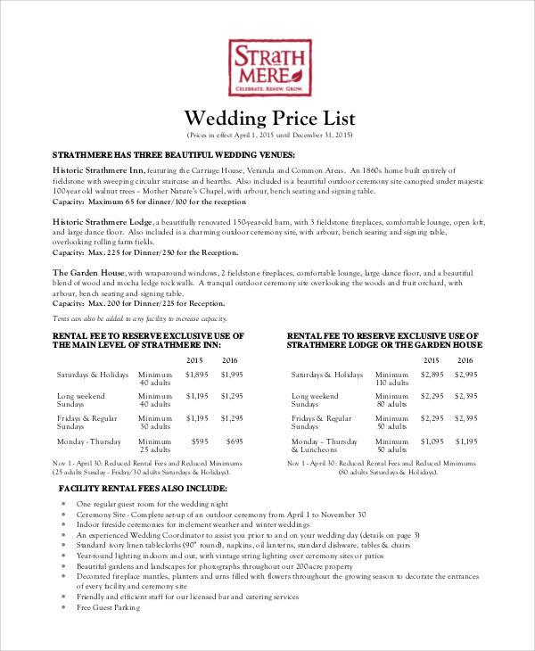 9+ Wedding List Samples \u2013 PDF, Word Sample Templates