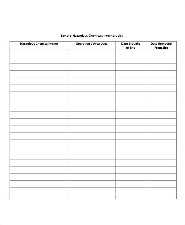 9+ Inventory List Samples Sample Templates