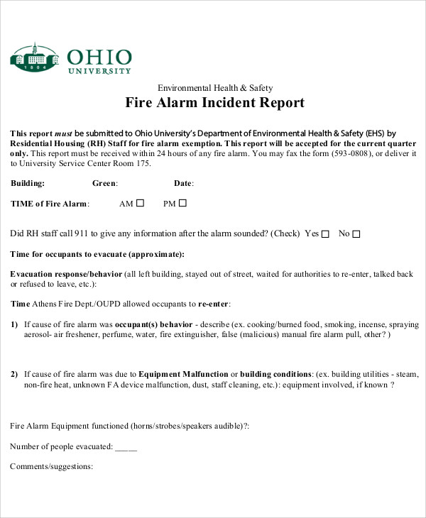 12+ Sample Fire Incident Reports Sample Templates