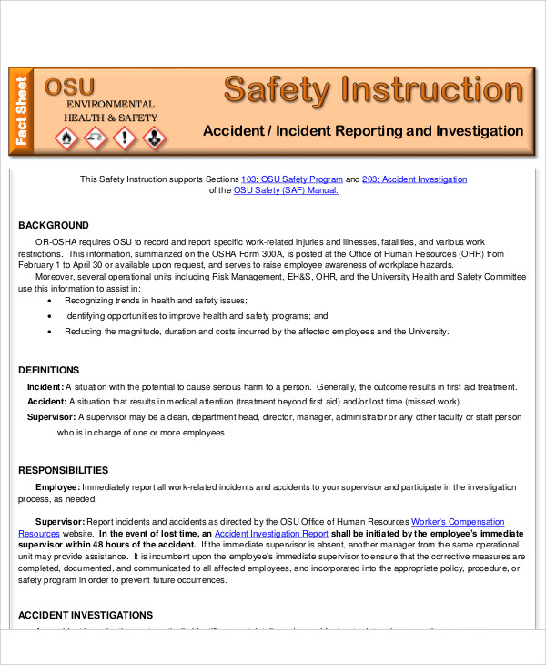 Sample Accident Incident Report - 6+ Examples in PDF, Word - safety report sample