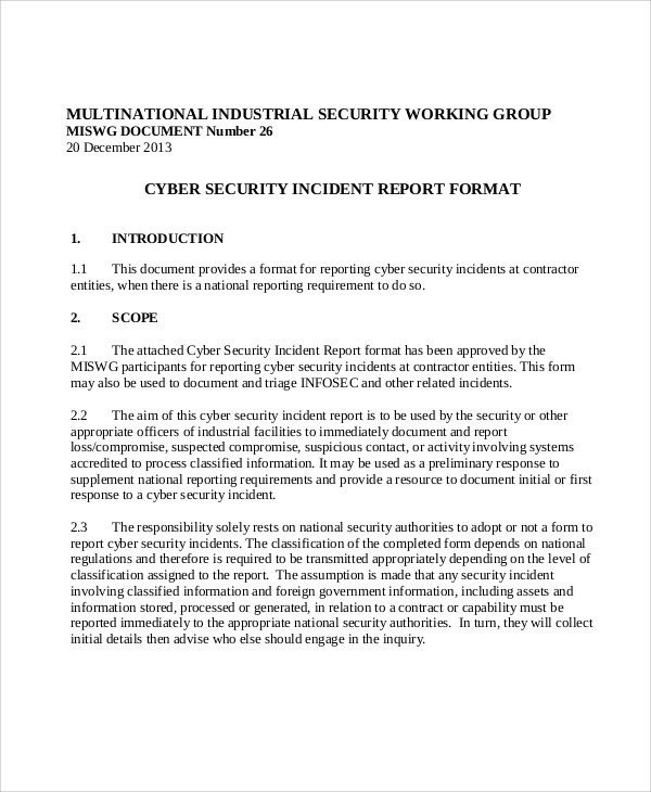 9+ Sample Security Incident Reports - PDF, Word, Pages