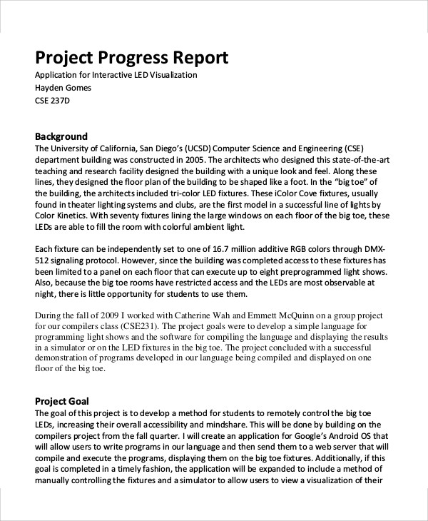 Sample Project Report Industry Profile; 15 Project Report On - job progress report
