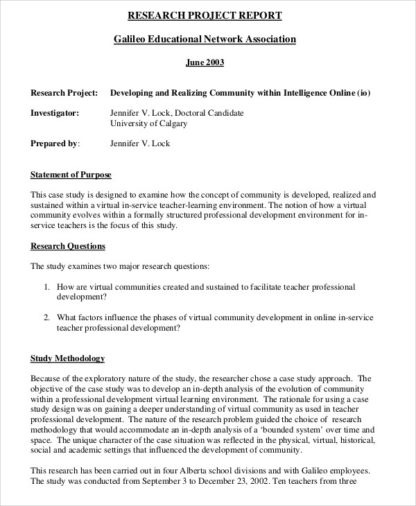 Sample Research Project Report - 9+ Examples in PDF, Word - sample project report