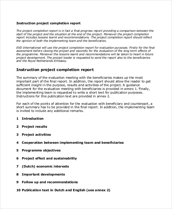 11+ Sample Project Completion Reports - PDF, Excel Word