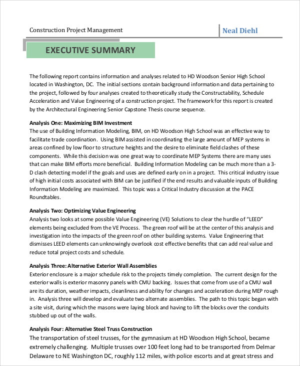 project summary report sle - 28 images - executive summary of a - executive summary format for project report