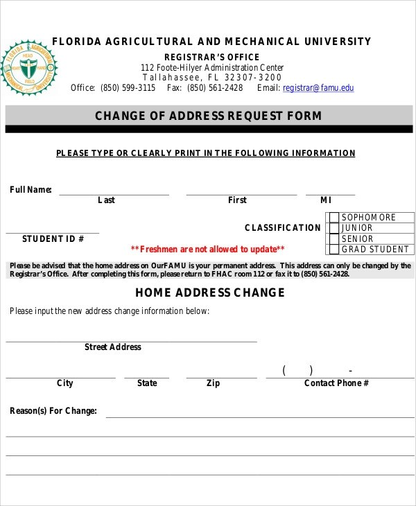 Sample Address Request Form - 9+ Examples in Word, PDF