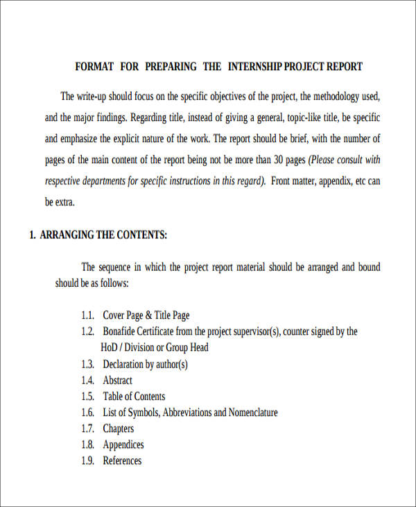 Sample Project Report Format - 6+ Examples in PDF, Word - sample project report