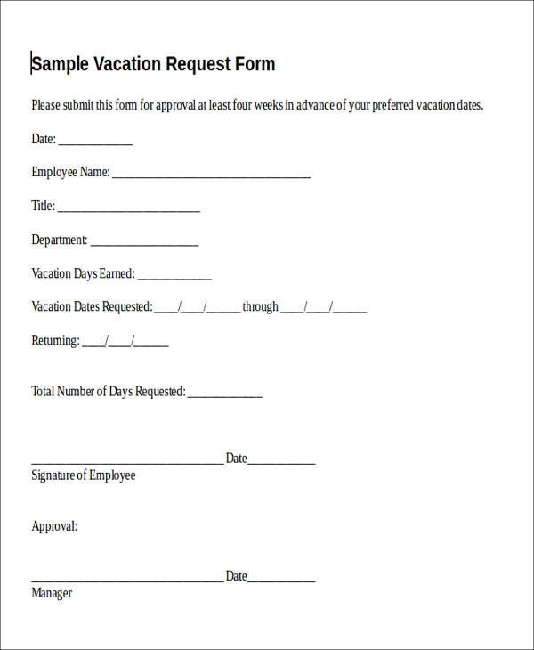 vacation time request form