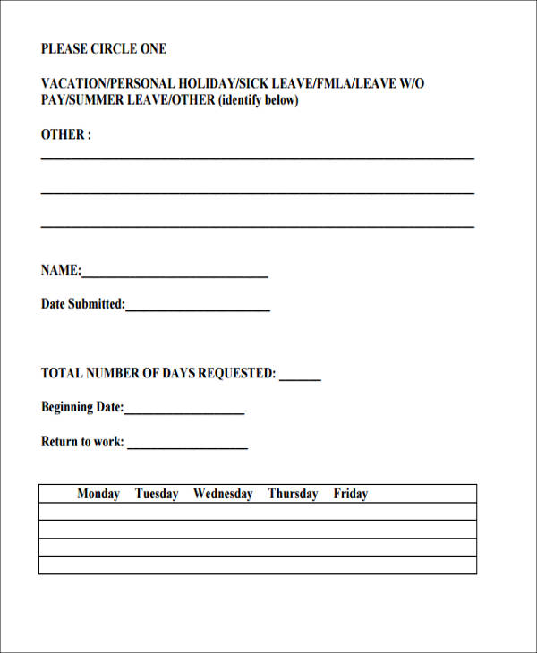 vacation request form - holiday request form