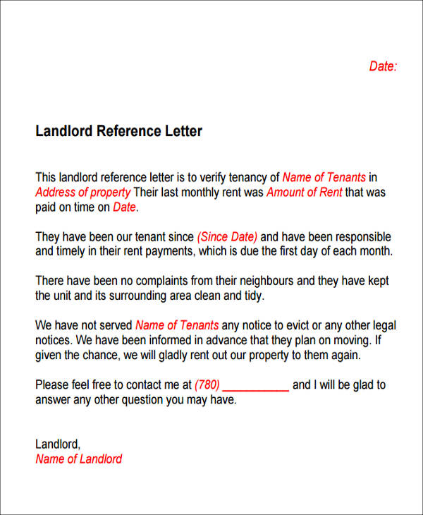 6 Sample Housing Reference Letter Samples  Templates Sample Templates - housing reference letter