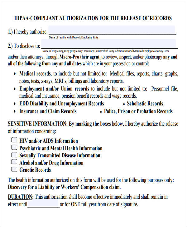 7+ Sample HIPAA Compliant Release Forms Sample Templates - hipaa compliant release form