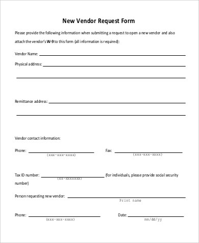 9+ Sample Vendor Request Forms - Word, PDF