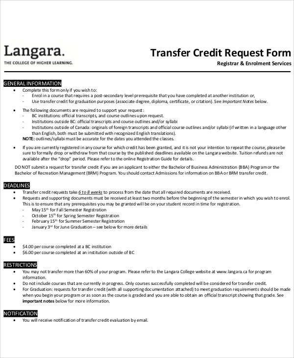 Sample Transfer Request Form