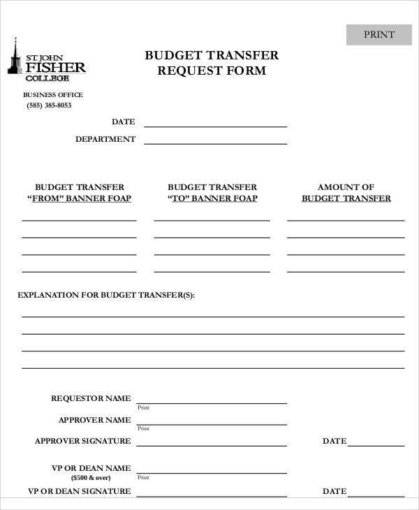 12+ Sample Transfer Request Forms Sample Templates