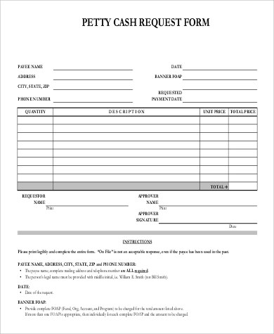 ... Sample Petty Cash Request Form   9+ Examples In Word, PDF   Petty Cash  ...