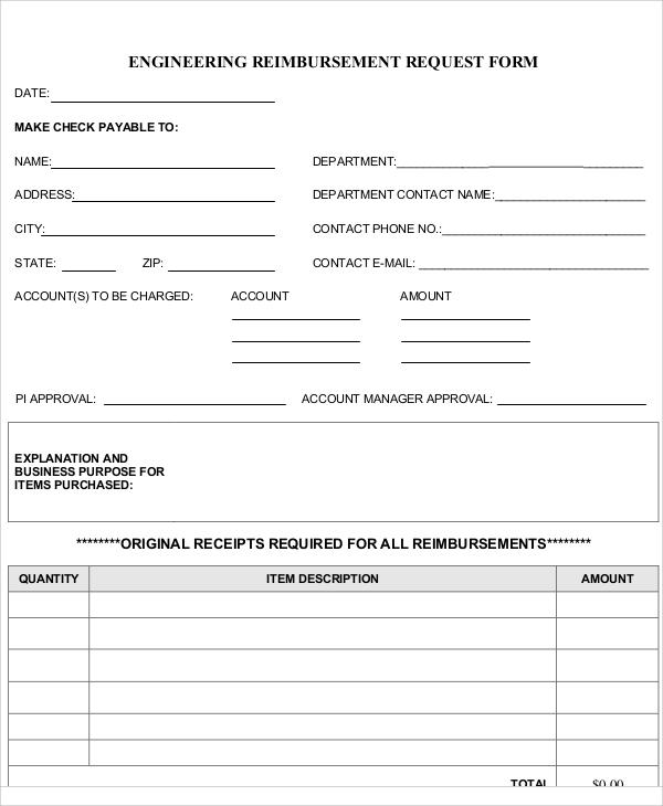 11+ Sample Reimbursement Request Forms Sample Templates